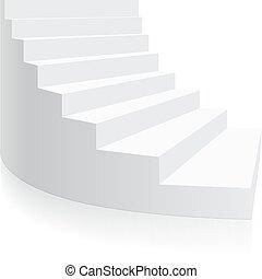 isometric, lépcsőfok, spirál, elszigetelt, vektor, fehér, 3