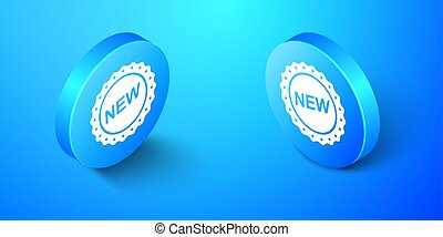 Isometric Label New icon isolated on blue background. Blue circle button. Vector