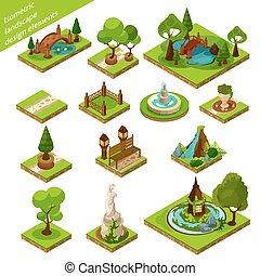 isometric landscape design elements - Garden Design Elements