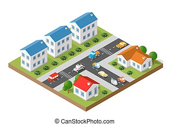 isometric landscape of a small town