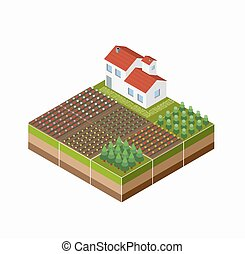 Isometric landscape of the countryside with the farm, the ...