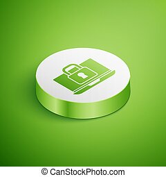 Isometric Laptop and lock icon isolated on green background. Computer and padlock. Security, safety, protection concept. Safe internetwork. White circle button. Vector
