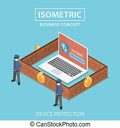 Isometric laptop computer protected by security system