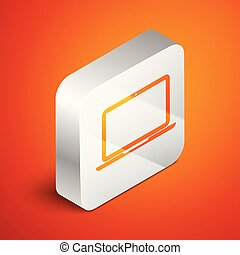 Isometric Laptop icon isolated on orange background. Computer notebook with empty screen sign. Silver square button. Vector Illustration
