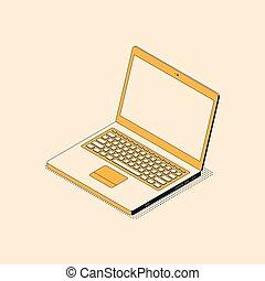 isometric, laptop, tela, textured, em branco, trendy, abertos, shadow.