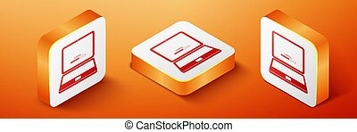 Isometric Laptop update process with loading bar icon isolated on orange background. System software update. Loading process in laptop screen. Orange square button. Vector
