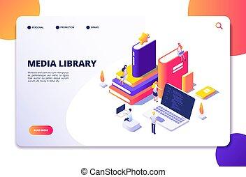 isometric, laptops., ludzie, bibliotheque, concept., lądowanie, wektor, książki, biblioteka, online, technologia, czytanie, elektronowy, strona