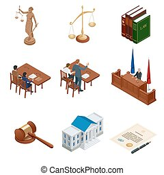 Isometric Law and Justice. Symbols of legal regulations....