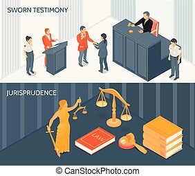 Isometric horizontal banners set with process of sworn testimony and various law and justice symbols 3d isolated vector illustration