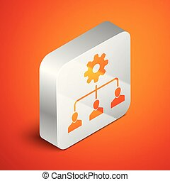 Isometric Lead management icon isolated on orange background. Silver square button. Vector Illustration
