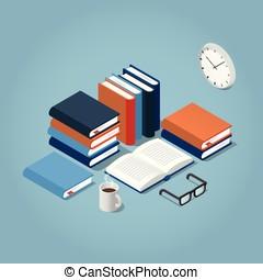 isometric, lezende , boekjes , illustratie