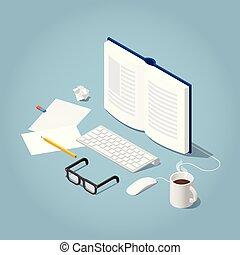 isometric, lezende , illustratie, online