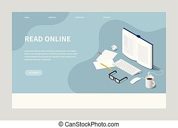 isometric, lezende , pagina, tussenverdieping, online