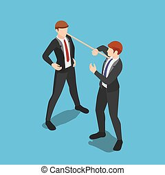 Isometric liar businessman with long nose speaking lies to ...
