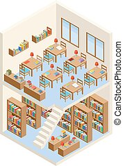 Isometric library and reading room