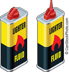 Detailed Isometric Illustrations of Lighter Fluid Containers - Open and Closed