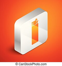 Isometric Lighter icon isolated on orange background. Silver square button. Vector Illustration