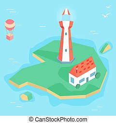 Isometric lighthouse with house on the island