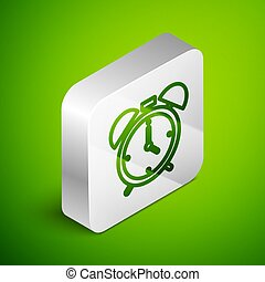 Isometric line Alarm clock icon isolated on green background. Wake up, get up concept. Time sign. Silver square button. Vector