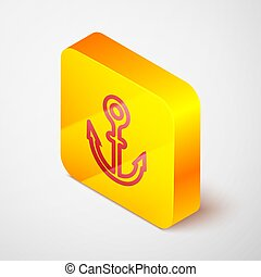 Isometric line Anchor icon isolated on grey background. Yellow square button. Vector