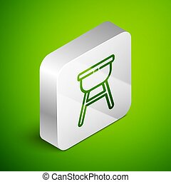 Isometric line Barbecue grill icon isolated on green background. BBQ grill party. Silver square button. Vector Illustration