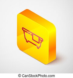 Isometric line Bathtub icon isolated on grey background. Yellow square button. Vector