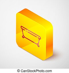 Isometric line Bathtub icon isolated on grey background. Yellow square button. Vector Illustration