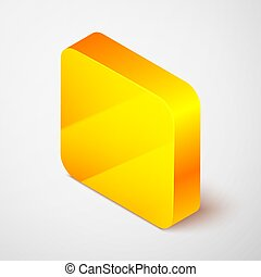 Isometric line Blade razor icon isolated on grey background. Yellow square button. Vector Illustration