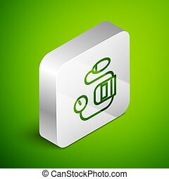 Isometric line Blood pressure icon isolated on green background. Silver square button. Vector Illustration