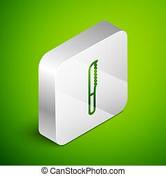 Isometric line Bread knife icon isolated on green background. Cutlery symbol. Silver square button. Vector Illustration