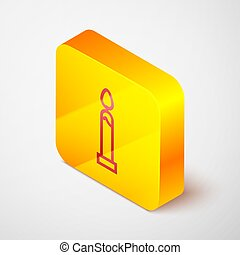 Isometric line Burning candle icon isolated on grey background. Cylindrical candle stick with burning flame. Yellow square button. Vector Illustration