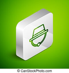Isometric line Camping hat icon isolated on green background. Beach hat panama. Explorer travelers hat for hunting, hiking, tourism. Silver square button. Vector Illustration