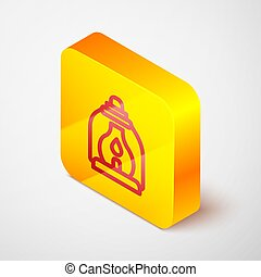 Isometric line Camping lantern icon isolated on grey background. Yellow square button. Vector