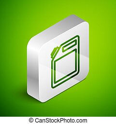 Isometric line Canister for gasoline icon isolated on green background. Diesel gas icon. Silver square button. Vector