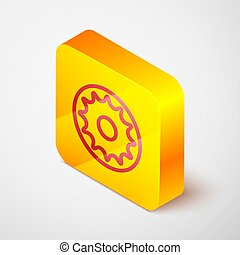 Isometric line Chakra icon isolated on grey background. Yellow square button. Vector