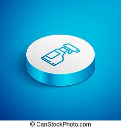 Isometric line Cleaning spray bottle with detergent liquid icon isolated on blue background. White circle button. Vector Illustration