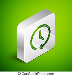 Isometric line Clock icon isolated on green background. Time symbol. Silver square button. Vector