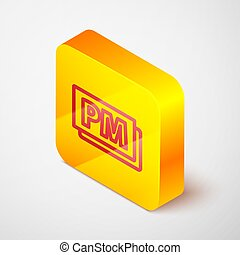 Isometric line Clock PM icon isolated on grey background. Time symbol. Yellow square button. Vector