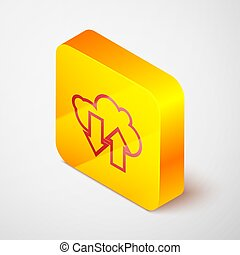 Isometric line Cloud download and upload icon isolated on grey background. Yellow square button. Vector Illustration
