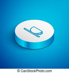 Isometric line Coffee cup icon isolated on blue background. Tea cup. Hot drink coffee. White circle button. Vector Illustration
