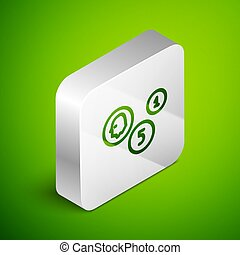 Isometric line Coin money icon isolated on green background. Banking currency sign. Cash symbol. Silver square button. Vector Illustration