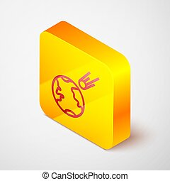 Isometric line Comet falling down fast icon isolated on grey background. Yellow square button. Vector Illustration