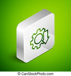 Isometric line Cost reduction icon isolated on green background. Silver square button. Vector Illustration