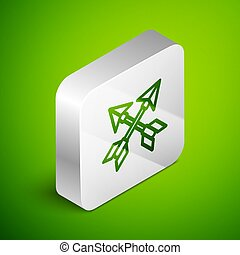 Isometric line Crossed arrows icon isolated on green background. Silver square button. Vector Illustration