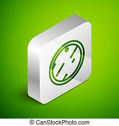 Isometric line Cutting board icon isolated on green background. Chopping Board symbol. Silver square button. Vector