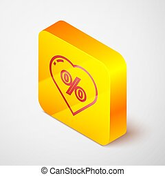 Isometric line Discount percent tag in heart icon isolated on grey background. Shopping tag sign. Special offer sign. Discount coupons symbol. Yellow square button. Vector Illustration