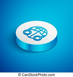 Isometric line Earth globe with medical mask icon isolated on blue background. White circle button. Vector