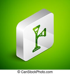 Isometric line Floor lamp icon isolated on green background. Silver square button. Vector
