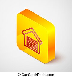 Isometric line Garage icon isolated on grey background. Yellow square button. Vector