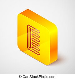 Isometric line Hairbrush icon isolated on grey background. Comb hair sign. Barber symbol. Yellow square button. Vector Illustration